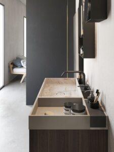 Lavabo Compact Living 90x46x8H cm con porta-oggetti in Corian