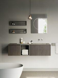 Compact Living Base con cassetto apertura a gola 40x52x36H cm in laminato Rovere Bruno