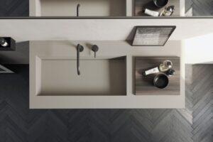 Top in KoraKril con lavabo integrato . Compact Living di Rexa Design